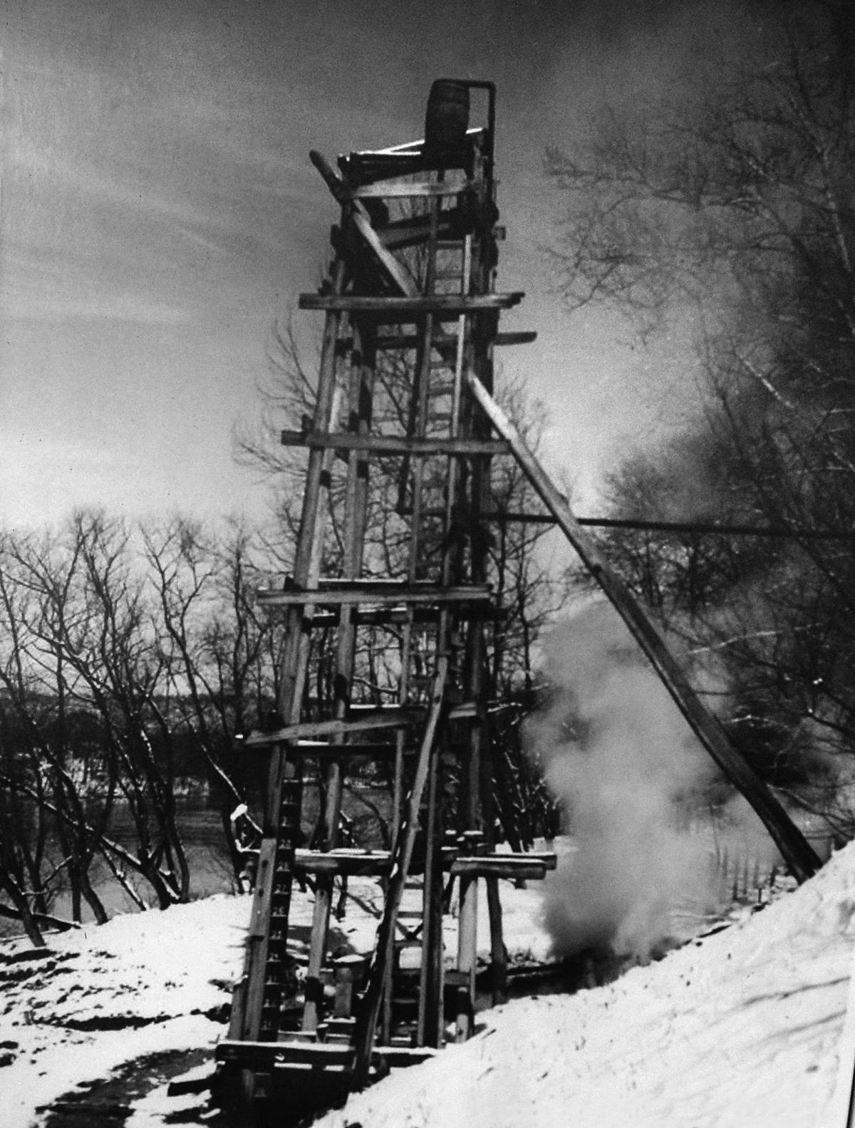 Historical photo of a salt well at J.Q. Dickinson & Co.