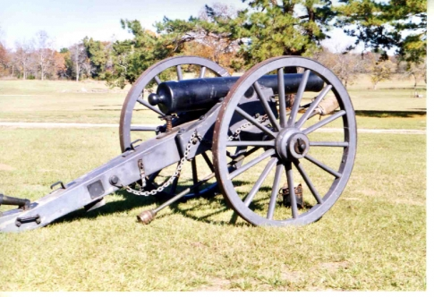 One of the cannons displayed on the premises of the Fort Towson Site