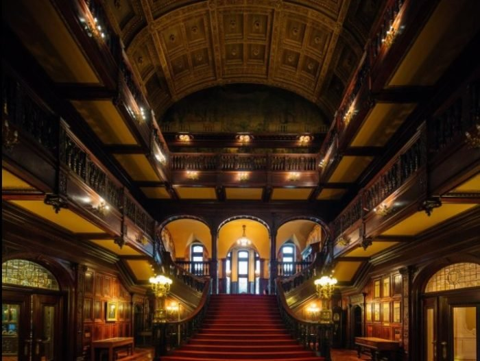 Grey Towers Great Hall with grand staircase.