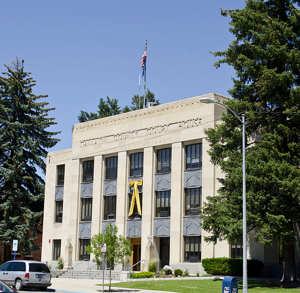 Gallatin County Courthouse was erected in 1936 and is an excellent example of the Art Deco style.