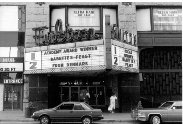 This black and white photo was taken during the time that the theater was named the Fulton Theater.