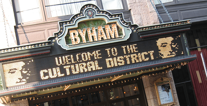 This is the current marquee of the Byham Theater.