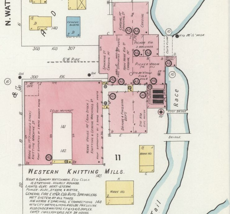 Sanborn Fire Insurance map of Western Knitting Mills complex, 1908