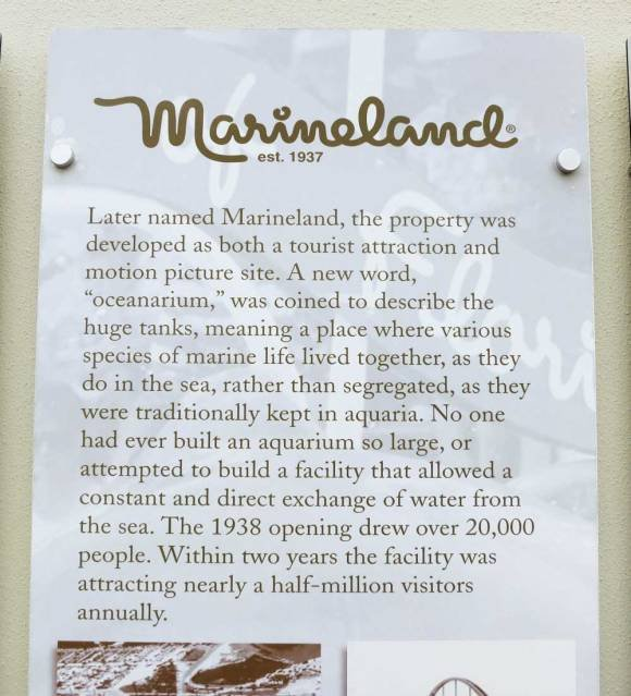 This sign is located between St. Augustine and Flagler Beach. It explains the history of Marineland, beginning in 1938 to what we know it as today.