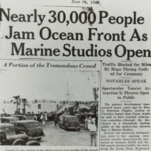 This is a newspaper article about Marine Studios when it first opened, explaining the large crowd that gathered on opening day to see the exciting studio.