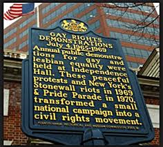 The historical marker honoring the Annual Reminders protest is located on Chesnut St outside of the Wells Fargo branch office.  Courtesy of Philly Gay Pride (reproduced under Fair Use).