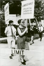Barbara Gittings at a Philadelphia Reminder by Kay Tobin Lahusen, courtesy of New York Public Library (reproduced under Fair Use)