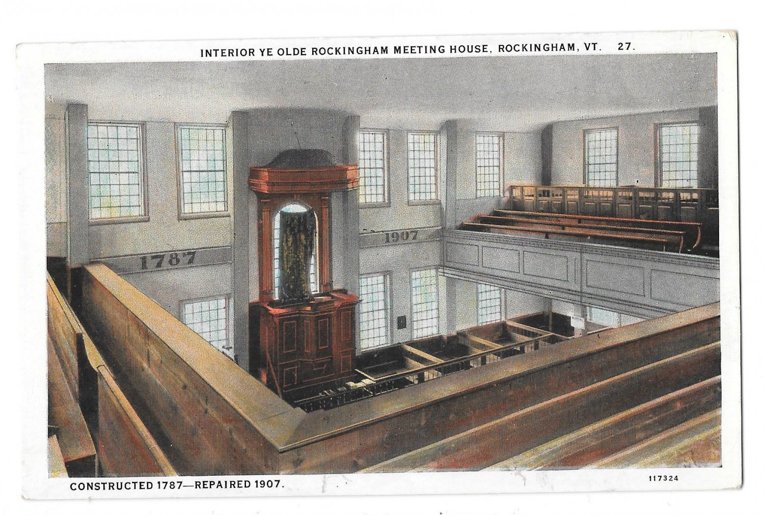 A post card the features the interior of the meeting house shortly after it was renovated.