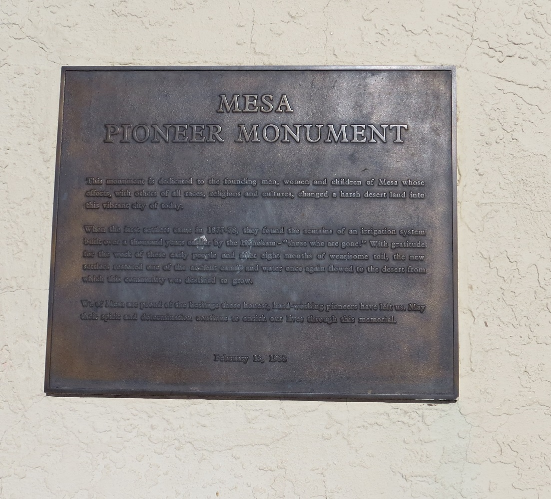Mesa Pioneer Monument plaque. Photograph by Cynthia Prescott.
