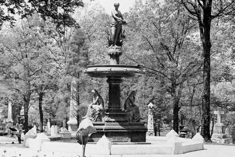 "The original fountain. At the time of its addition to the cemetery, it was simply known as the ""Gray Cemetery,"" named for poet Thomas Gray, who wrote ""Elegy Written in a Country Churchyard."" Photo from the Calvin M. McClung Historical Collection."