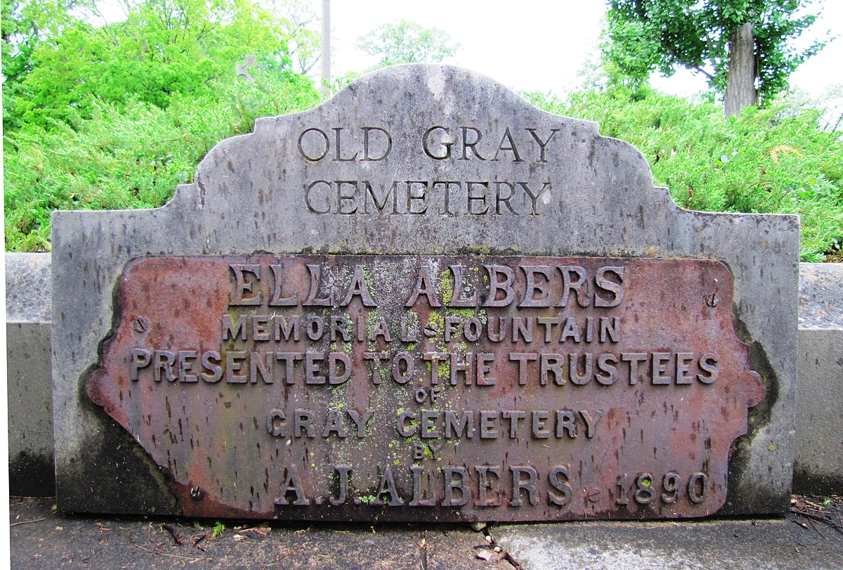 "The original marker for the fountain, which reads, ""Ella Albers Memorial Fountain Presented to the Trustees of Gray Cemetery - A. J. Albers 1890.""  Photo by Brian Stansberry."