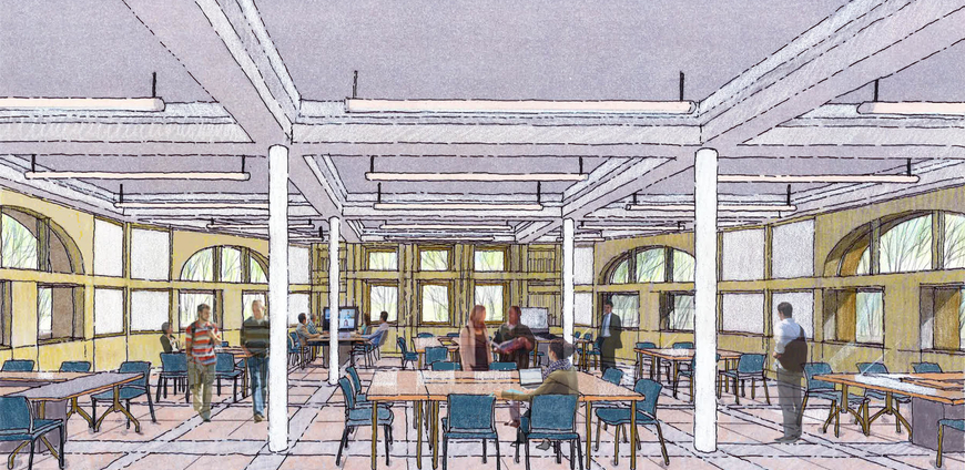 An artist's rendering of one of the proposed open work spaces