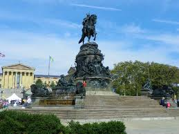 The Washington Monument, sculpted by Rudolf Siemering, in Eakins Oval, just in front of the stairs of the Philadelphia Museum of Art, Philadelphia.