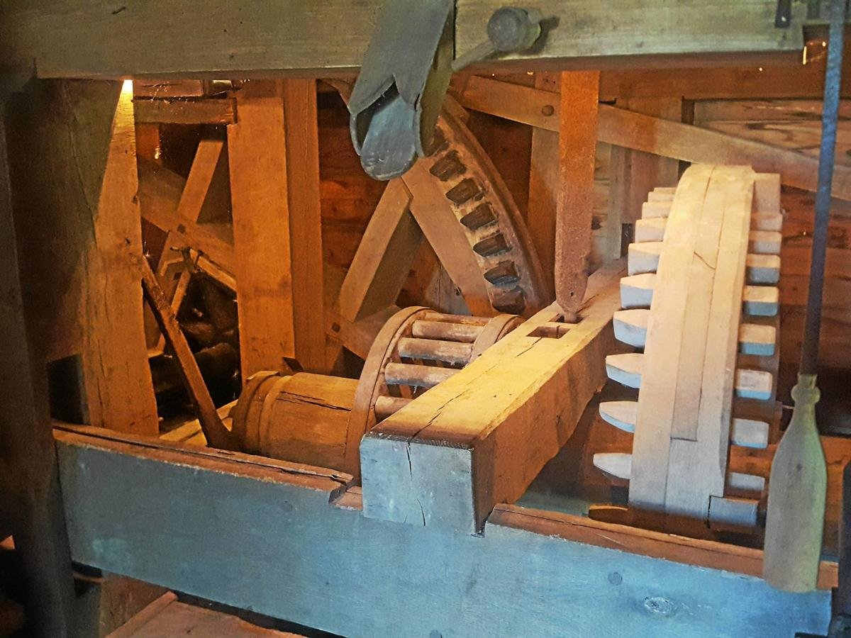 The wooden inner-working of the mill.
