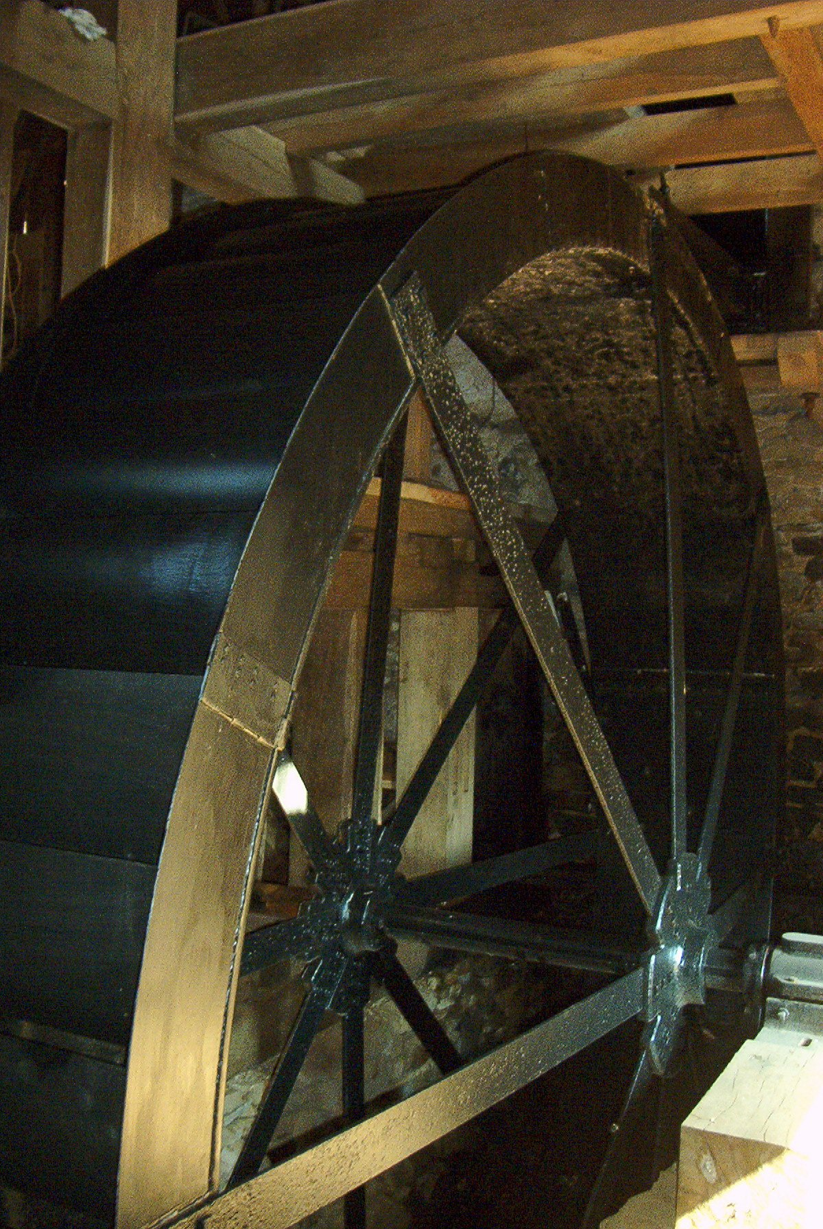 And the water wheel that drives those wooden inner-workings.
