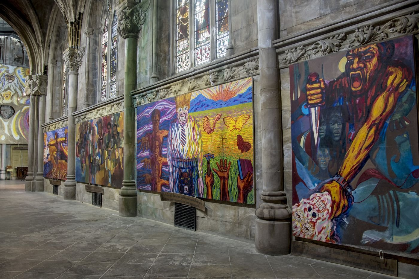 Murals inside the church