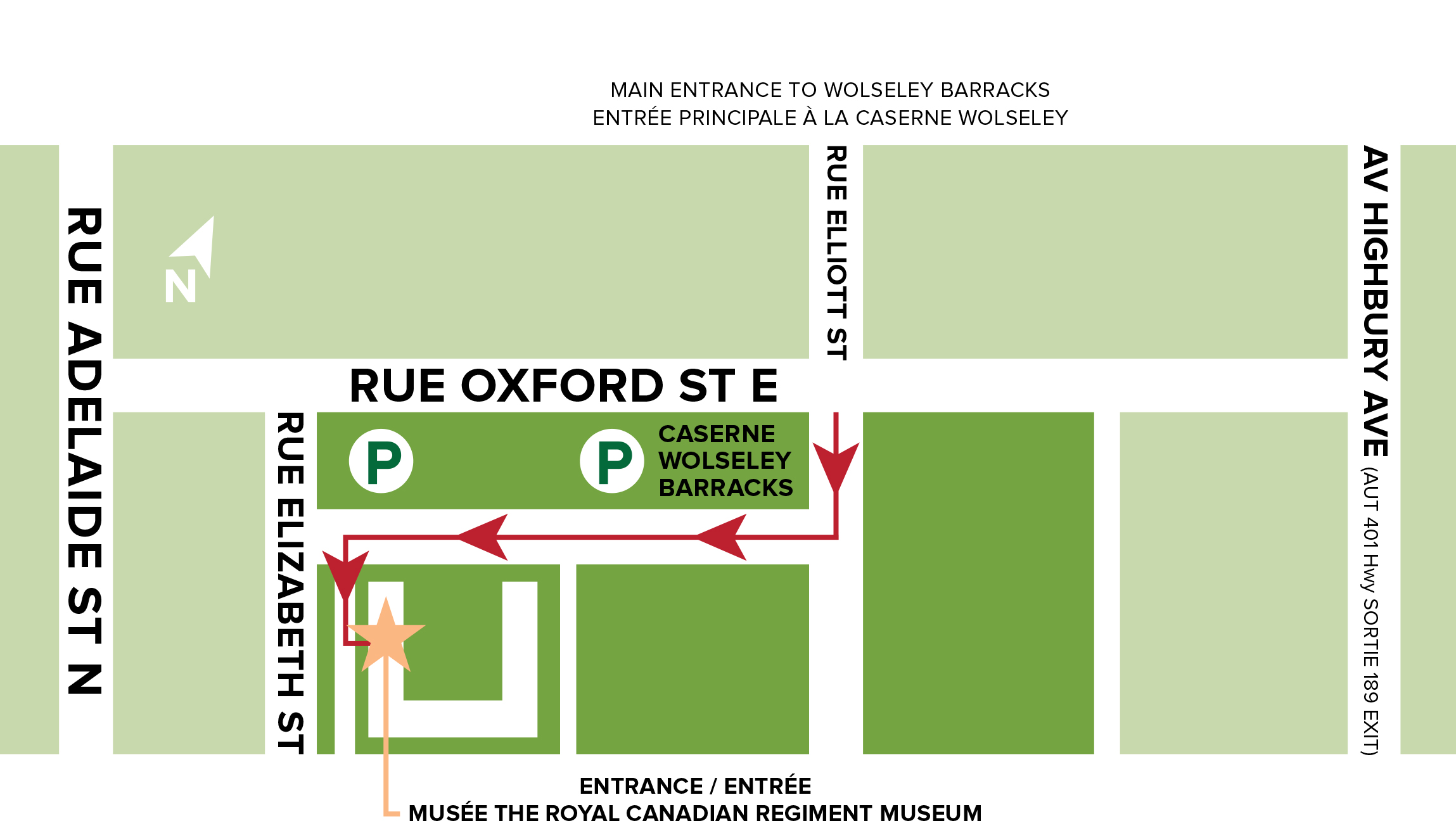 Map showing how to access the site