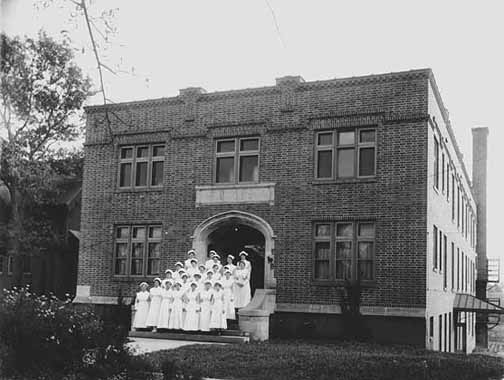 Nurses on the steps of the Ripley Memorial Hospital after it was completed in 1916