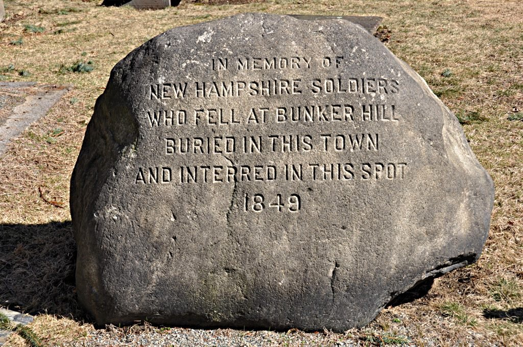 Commemorative boulder for Bunker Hill soldiers (image from Wikimedia Commons)