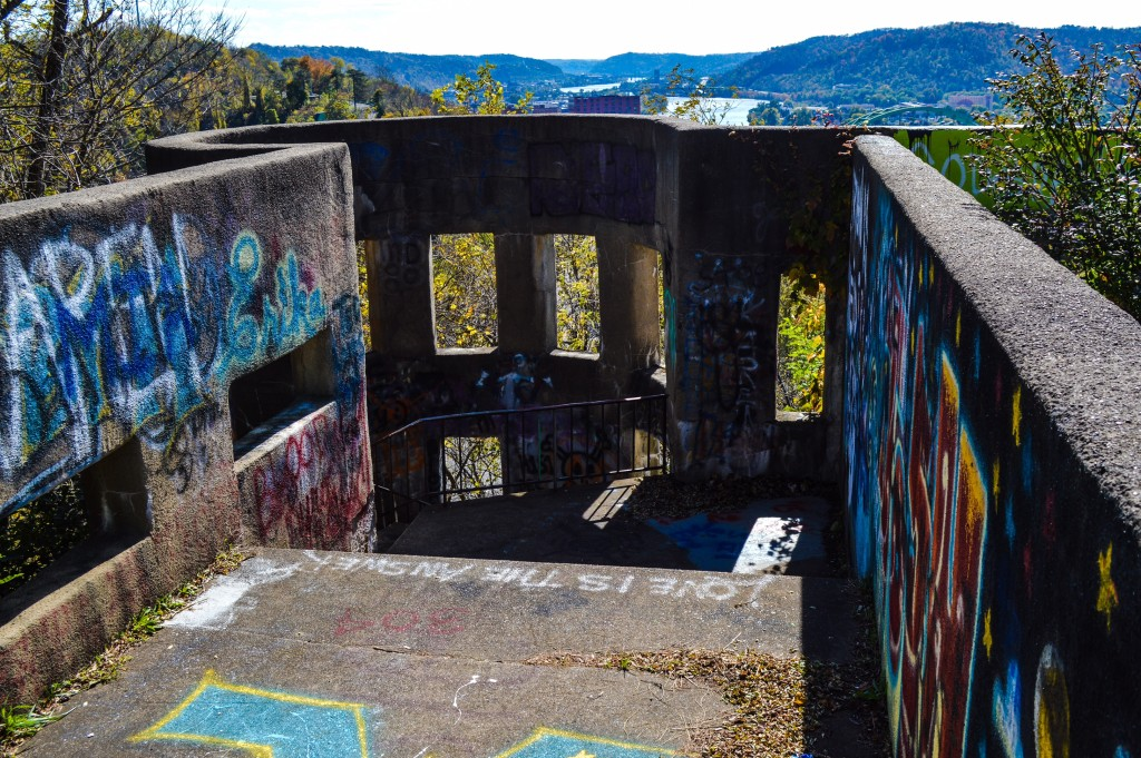 Mt. Wood Castle, now covered in graffiti