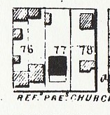 Thomas Melendy, house on lot 76, west half, corner of West State and West streets, 1854 map of Jacksonville.