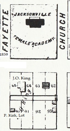 Location of Kings' house, 1855 map of Jacksonville. Today JHS Bowl is located across the street from the location of his home.