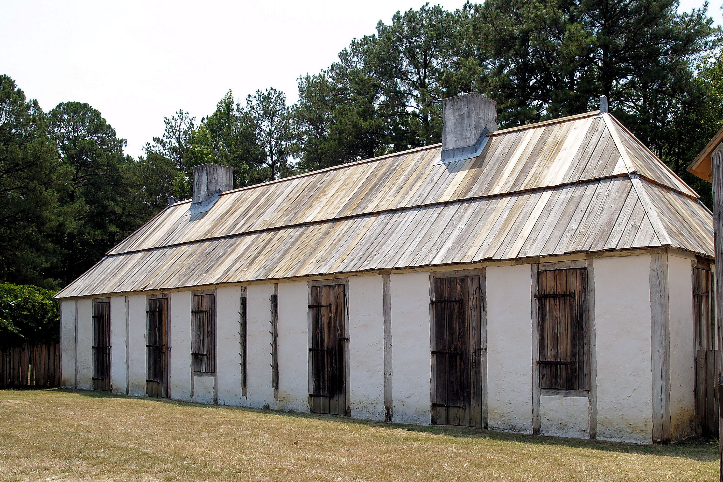 One of the buildings at the recreated Fort Toulouse, which was designated a National Historic Landmark in 1960. The fort is a replica of the one built by the French in 1751.