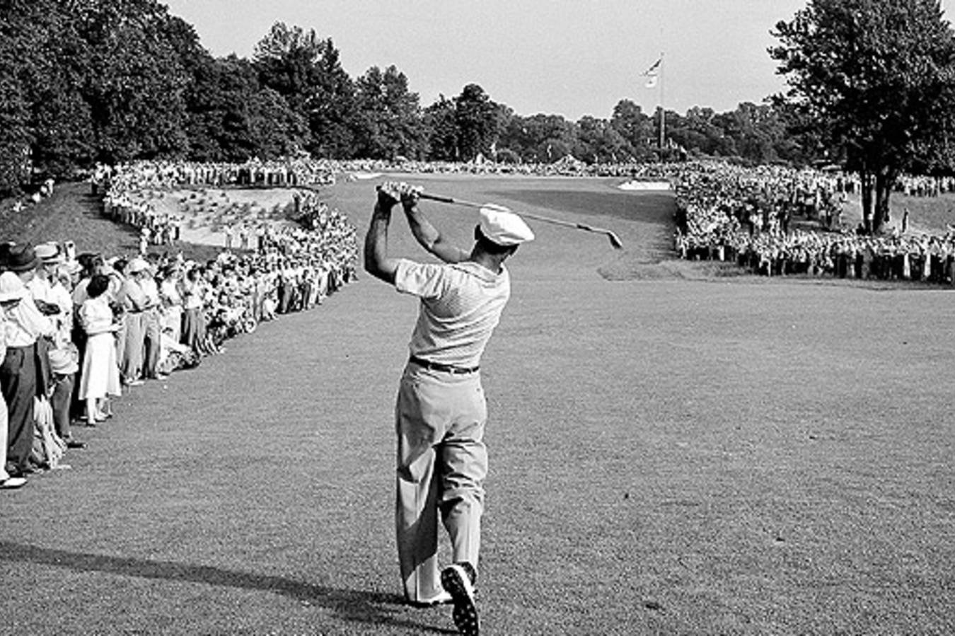 Perhaps one of the most famous photographs in golf: Ben Hogan's 1-iron (or was it a 2-iron?) on Merion's 18th fairway during the 1950 U.S. Open.