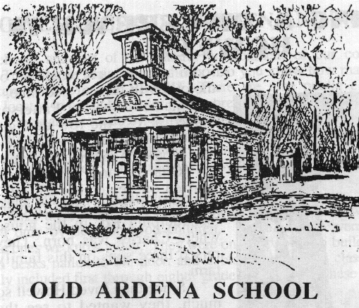 A drawing capturing the whole structure of the school house as well as the outhouse located closely behind.