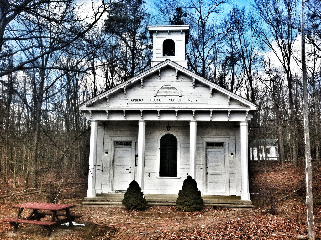 The front entrance to the Old Ardena School House, where separate doors were used by male and female students.  Photo from Fun New Jersey Magazine.