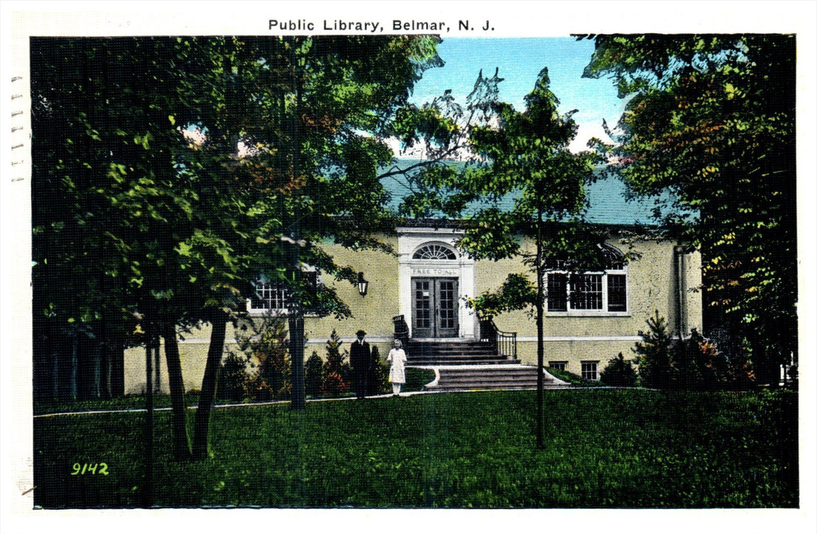 A post-card of the Belmar Public Library showcasing its colonial architecture and surrounding foliage.   Photo from: Hippostcard.com