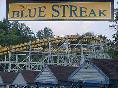 Picture of the historical landmark and roller coaster, the Blue Streak.