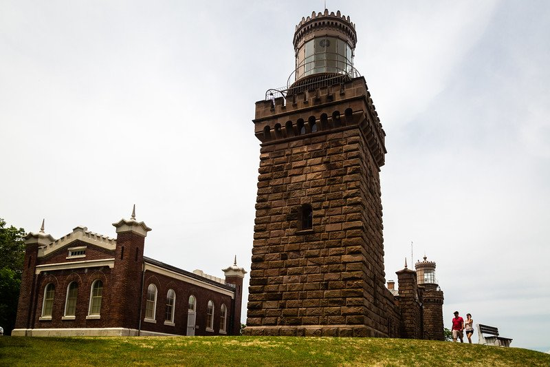 This is a side profile picture of the Twin Lights Lighthouse. The view is concentrating on one of the beacons and its structure. Photo by Rick Willis.