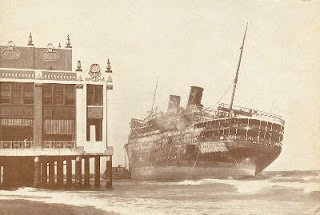 1934 image of the famed Morro Castle wreck east of Convention Hall. 251 passengers of the liner were either dead, or missing.