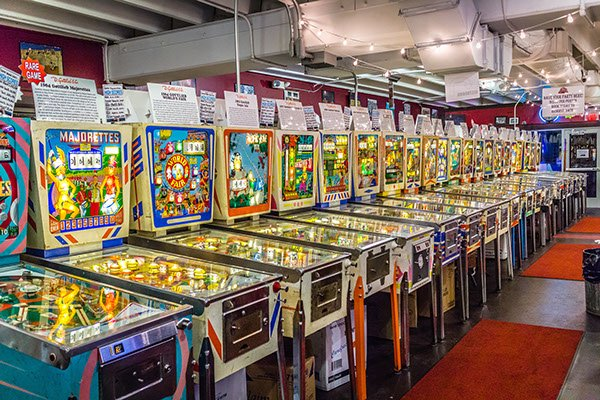 "This is picture 1 of 5, credited to photographer Joseph Murphy, that shows what type of pinball games would be at Silverball Museum Arcade. The games ""Majorettes"" and ""World Fair"" can be seen side by side."