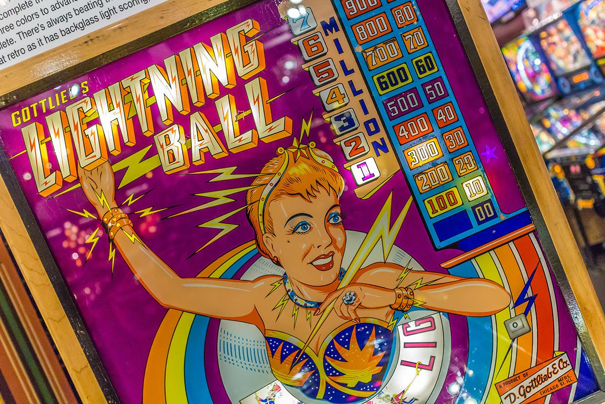 "This is picture 3 of 5, credited to photographer Joseph Murphy, that shows what type of pinball games would be at Silverball Museum Arcade. This game shown is Gottlieb's ""Lightning Ball."""
