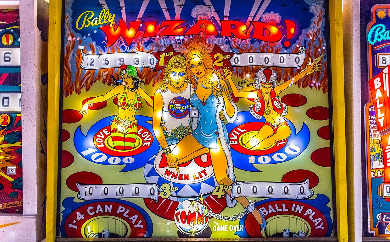"This is picture 4 of 5, credited to photographer Joseph Murphy, that shows what type of pinball games would be at Silverball Museum Arcade. This example exhibited here is ""Bally Wizard!"""