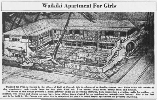 """1937 Advertisement """"Waikiki Apartment For Girls"""""""