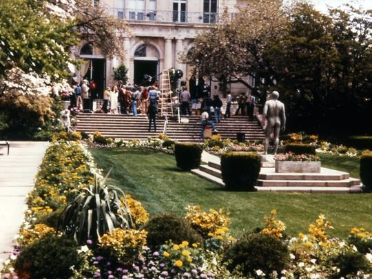 Filming of the movie, Annie, outside Wilson Hall. Asbury Park Press.