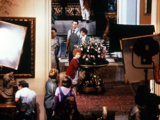 "Little Orphan Annie inside ""Daddy Warbuck's Mansion"" (WIlson Hall). Asbury Park Press."