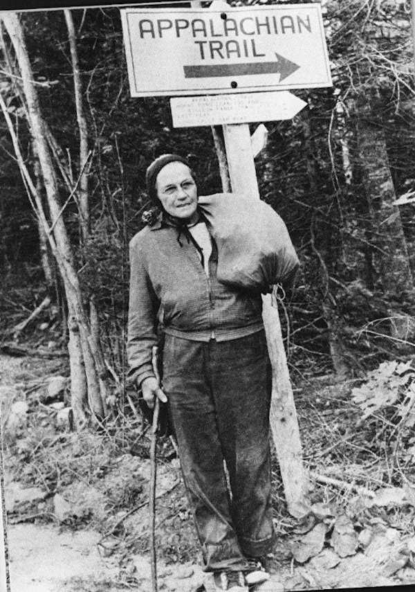 Pictured is Grandma Gatewood, the woman known for hiking the Appalachian Trail three times, and the Oregon Trail once. Grandma was a survivor of domestic abuse, married to a man who beat her until her face was unrecognizable, broke brooms over her he
