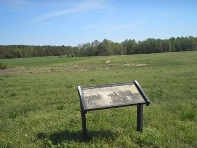 """A view of the """"A Final Stand"""" marker and some of the battlefield behind it."""