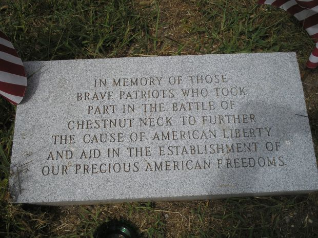 Plaque for soldiers who fought in the Battle of Chestnut Neck