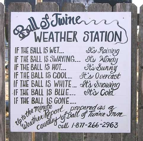 Ball of Twine weather report. Call this number for the up to date weather.