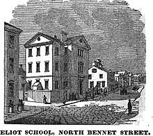 A sketch of the Eliot School at its original location on North Bennett Street