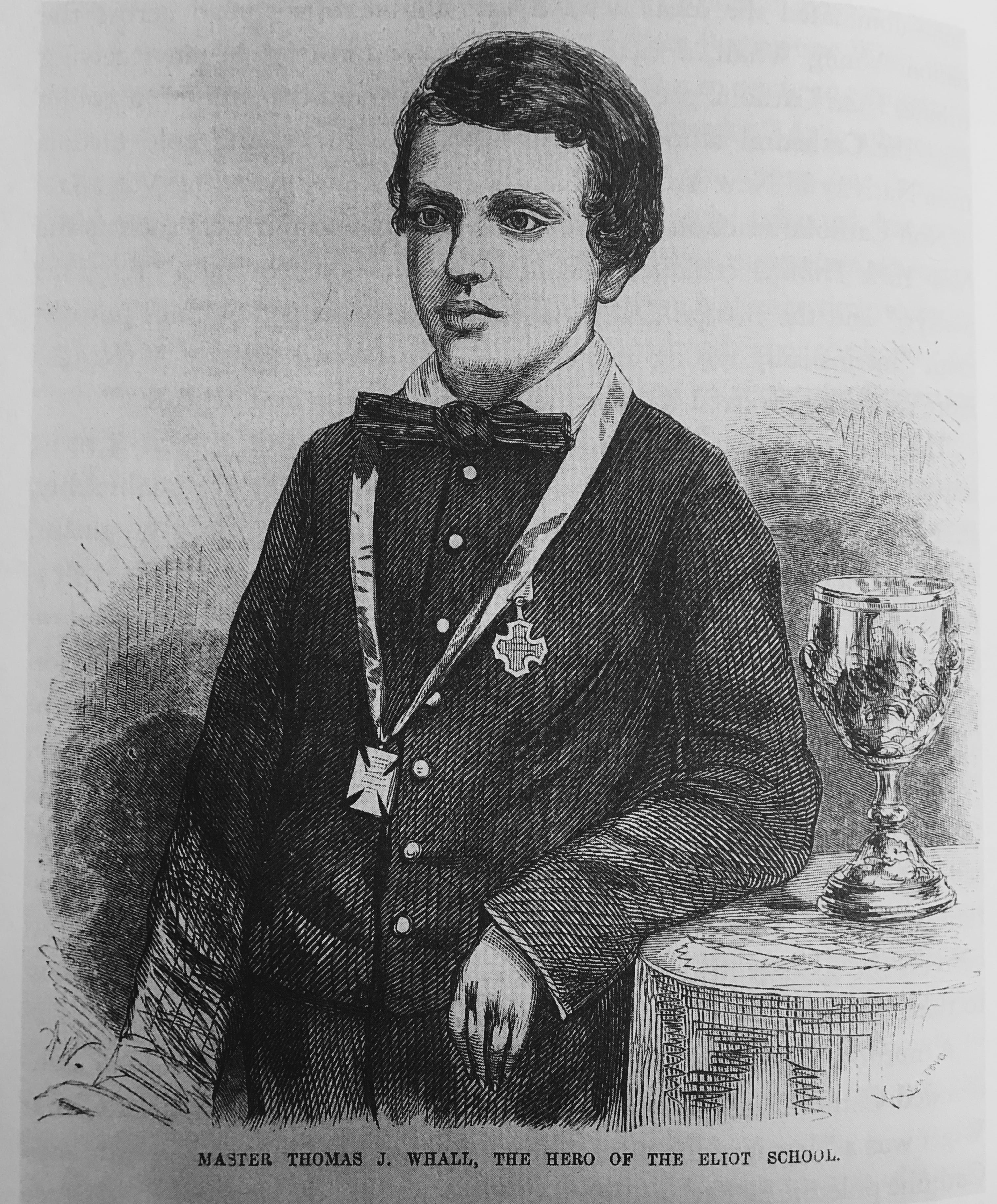 Young Thomas Whall with a goblet from the Catholic community in Covington, Kentucky, and several medals from Catholic churches throughout the nation