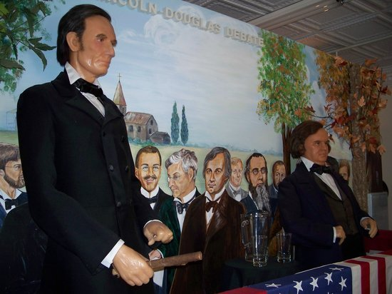 The museum tells the story of Lincoln's life through wax figures, including this depiction of the Lincoln-Douglas debates.