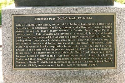 The inscription begins with Molly Stark's role as wife and mother before mentioning many of her individual achievements and characteristics.