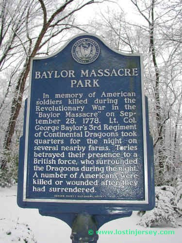 Located at the front of the park is a memorial  sign that discusses the Baylor Massacre and historical tragedy of that day.