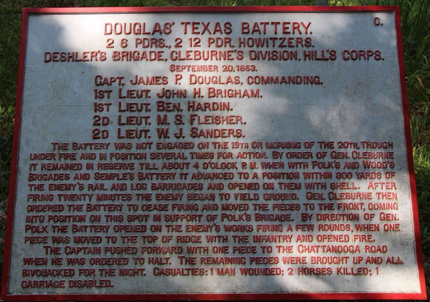 Photo by By Dale K. Benington, July 12, 2017, retrieved from: https://www.hmdb.org/PhotoFullSize.asp?PhotoID=393262  The wrought iron plaque commemorates Douglas' Artillery and the men who served in it in specific detail.
